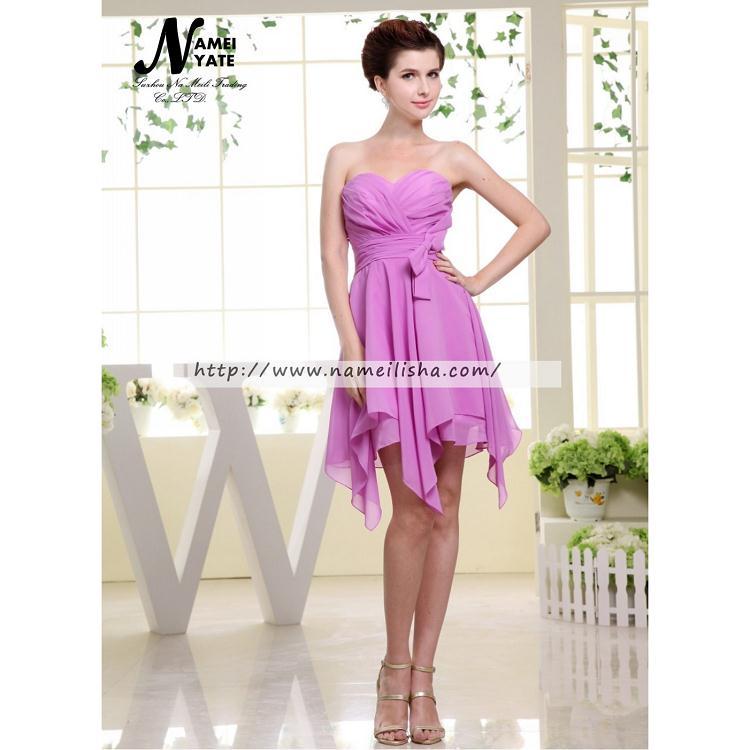 Venta al por mayor vestidos color lila cortos-Compre online los ...