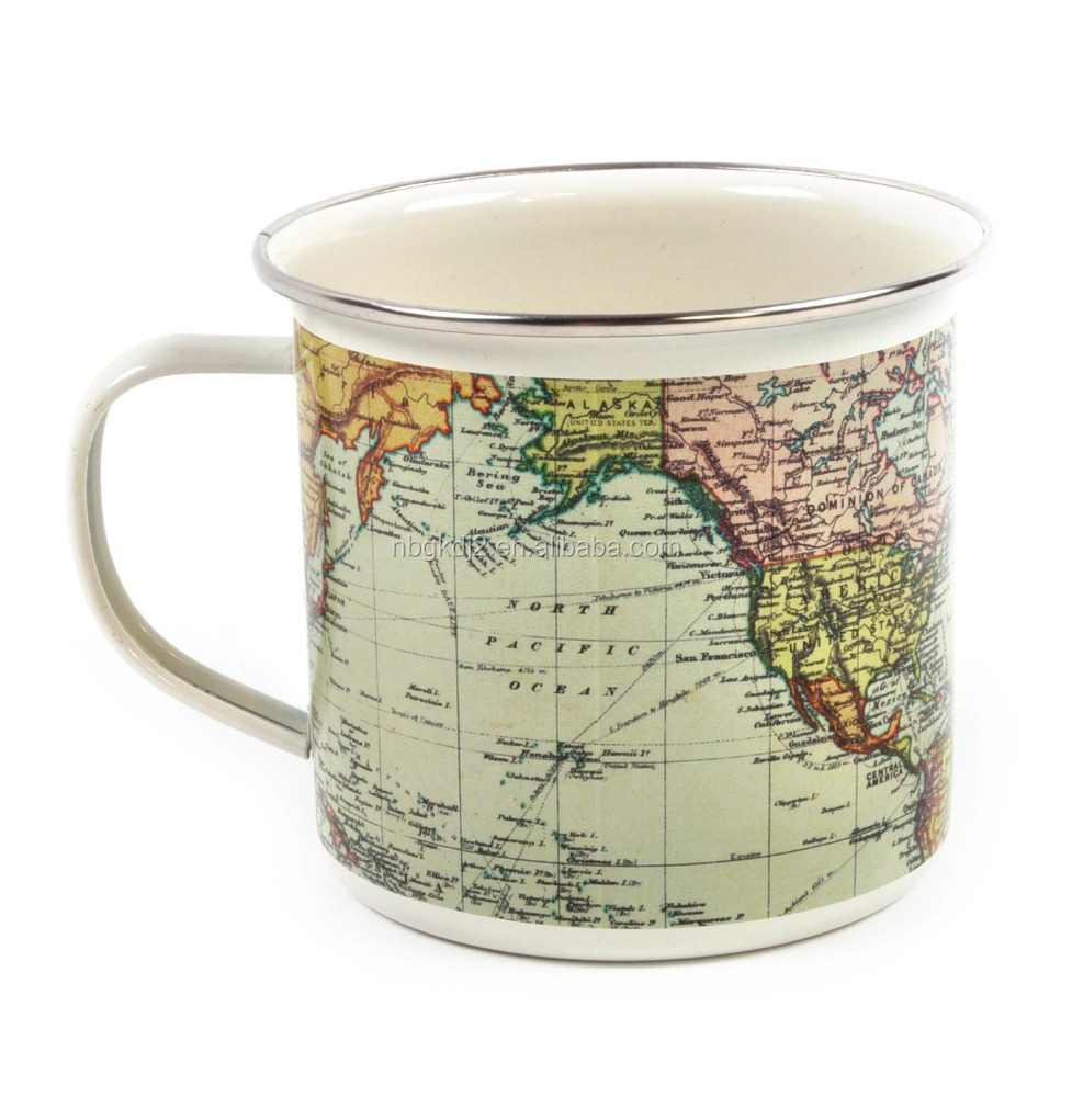 Outdoor World Map Enamel Coffee Mug With Oem Design And Ss Rim For