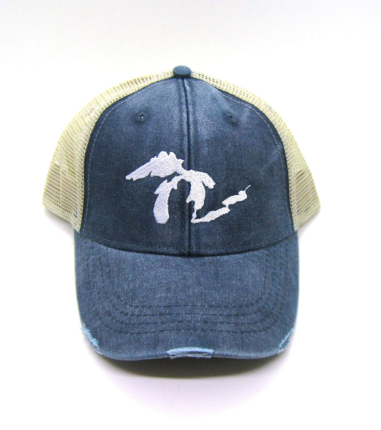 6ba15e9c251 Get Quotations · Navy Blue Distressed Great Lakes Trucker Hat