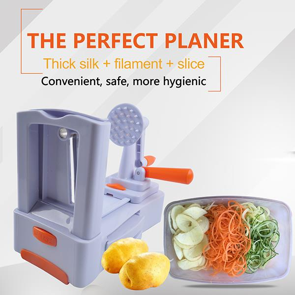 On time delivery One-step service support handy tri-blade plastic spiral vegetable slicer
