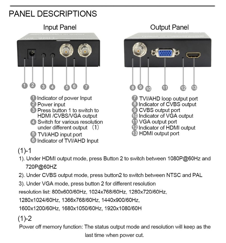 LINK-MI LM-TVH2 AHD to HDMI Converter TVI INPUT CVBS+AV+VGA output repeater