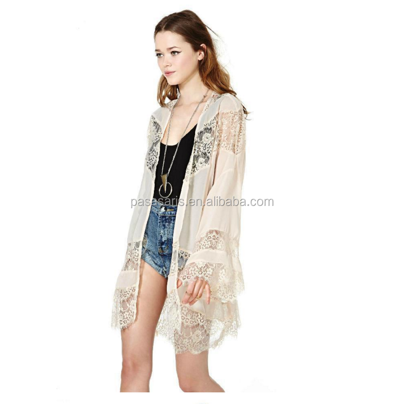 AL2831W Long sleeve casual loose beach cover up lace jacket coat tops blouse lady kimono cardigan