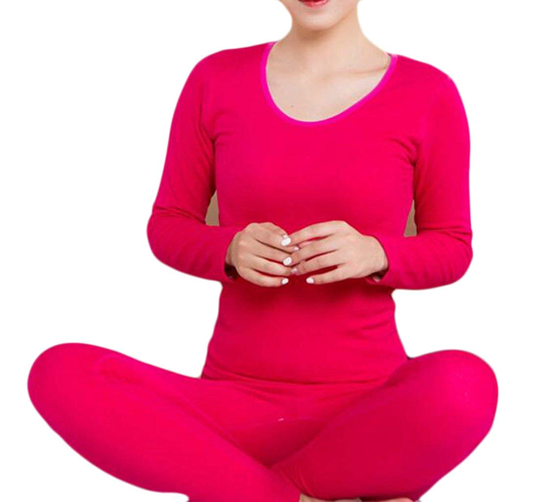 Pandapang Womens Fleece Seamless Comfy Long Johns Thermal Underwear Set