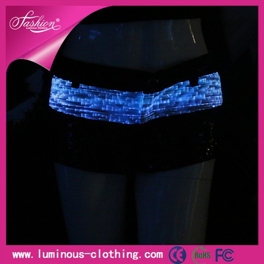 Shinning 2013 Ladies Pants Club Wear Light Pole Dance Ultra Shorts/ Costumes For Fitness Fiber Optic Clothing Luminous Short