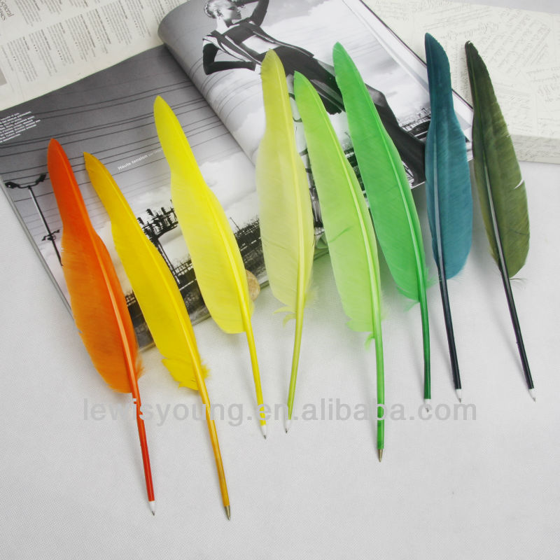 Creative promotional ball pen, novelty feather quill pens