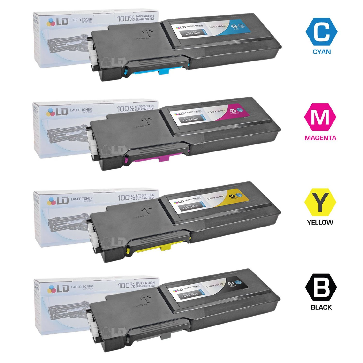 LD Compatible Alternative for Dell C3760DN / C3760N / C3765NF Set of 4 Toner Cartridges: 1 Black 331-8429, 1 Cyan 331-8432, 1 Magenta 331-8431 and 1 Yellow 331-8430