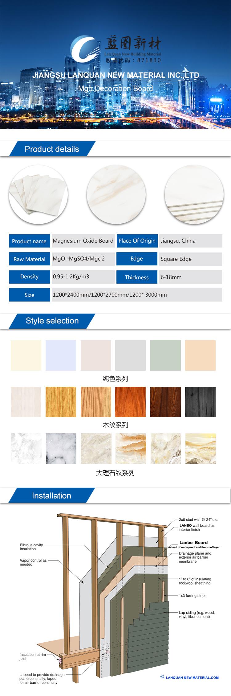 Dekorasyon duvar/tavan use10mm kolay yalıtım yanmaz mgo levha