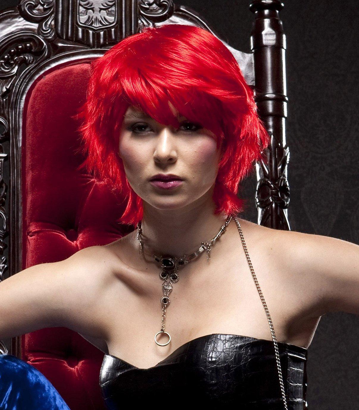Modern RED Short Hair wigs for Women-Short hair Wigs for Black Women-Sexy Short wigs with bangs-Nicki Minaj,Vanessa Wig,Khloe Kardashia wig style type-Use Wig cap,wig stand,wig head and wig brush