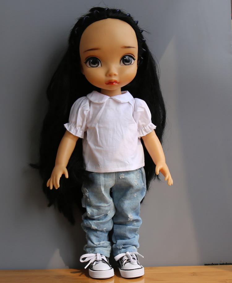 Doll Accessories White shirt wild hole jeans ofia princess Anna Elsa for 40cm American girl clothes