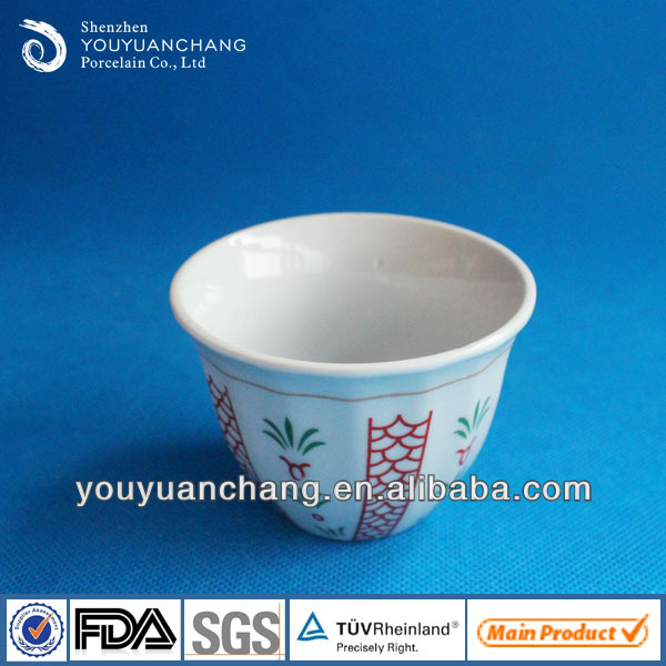 80cc High White Porcelain Cawa Cup With Different Color Decal ...