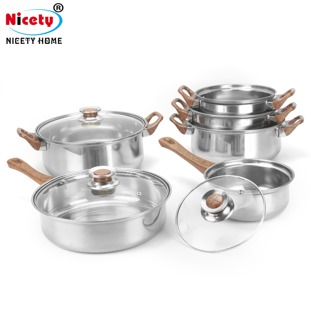 New stainless steel cooking pot and pan set