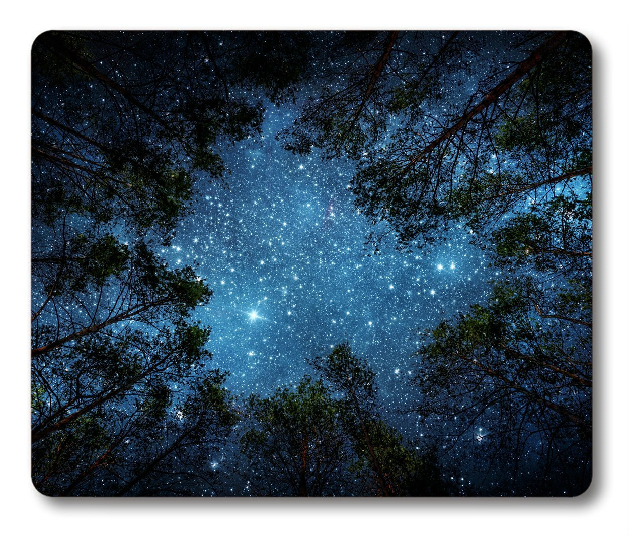 Smooffly Beautiful Night Sky Mouse Pad by, The Milky Way And the Trees Mouse Pad,Sublime Forest Nature View Rectangle Non-Slip Rubber Mousepad Gaming Mouse Pad (Night Sky)