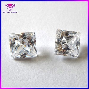 Ladies Brass Stud Earrings Square CZ in different Cut