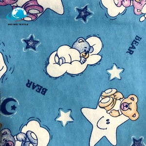Printed 100% flannel back satin fabric for baby wear