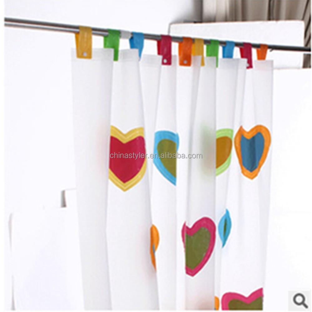 coeur impression plaine plastique peva imprim film frais rideaux designs couleur blanc bouton dissimul rideaux douches - Rideau De Douche Color