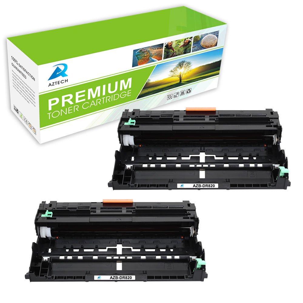 Aztech 2-Packs DR-820 Compatible Drum Unit Replacement for Brother DR-820 Drum Unit 820 Drum DR820 Drum DR 820 Drum - Black