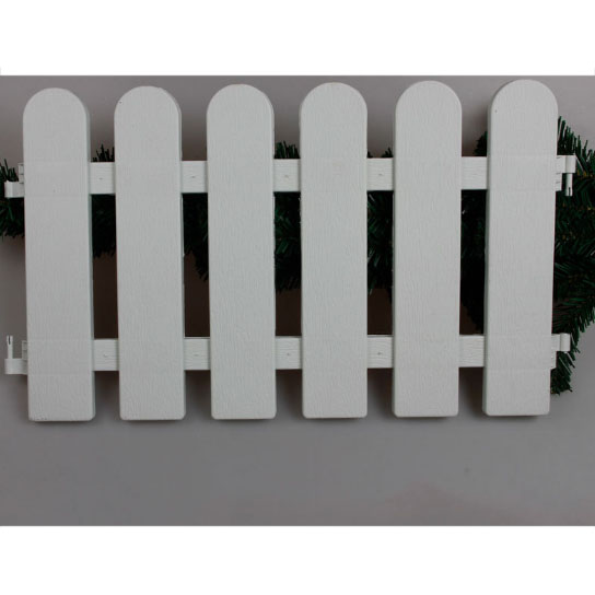 Christmas Day Decoration Fence Christmas Tree Fence White Round Head Plastic with Lines Pattern Garden Fence Ornament