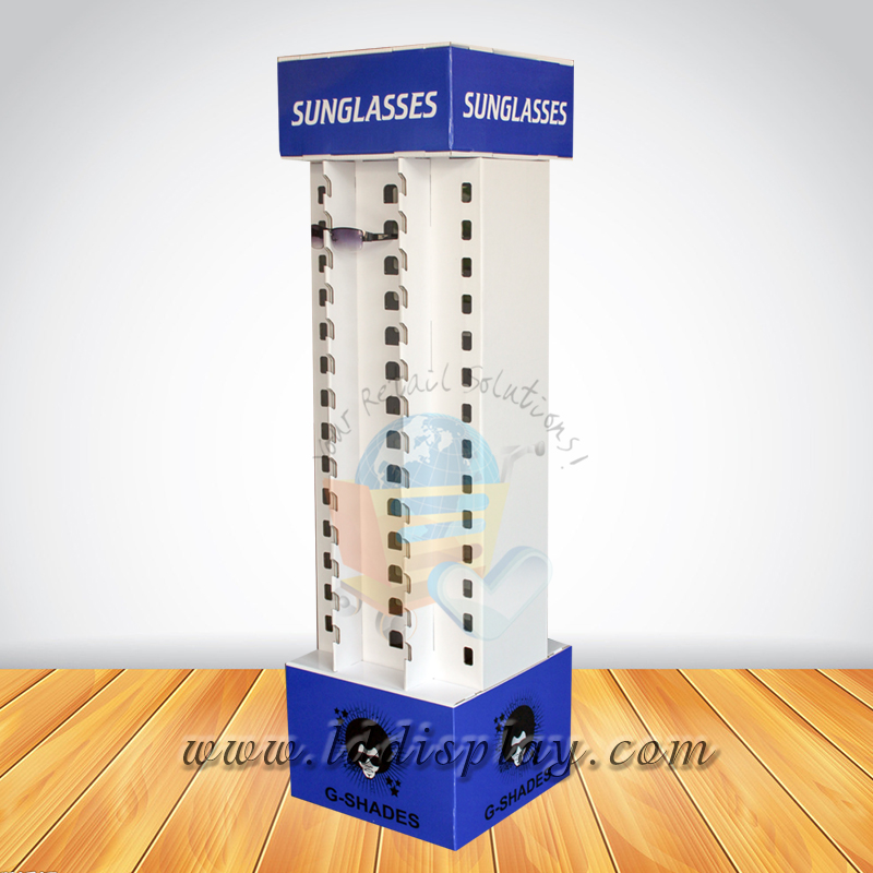 OEM white spinning eyewear floor display special design cardboard supermarket floor display