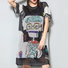 Women Custom Hip Hop Sublimation Shirt Short Sleeve Cartoon Printing Mesh Dress