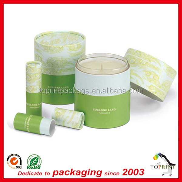 Custom Storng material flat paper cardboard tube packaging for candles with elegant new design