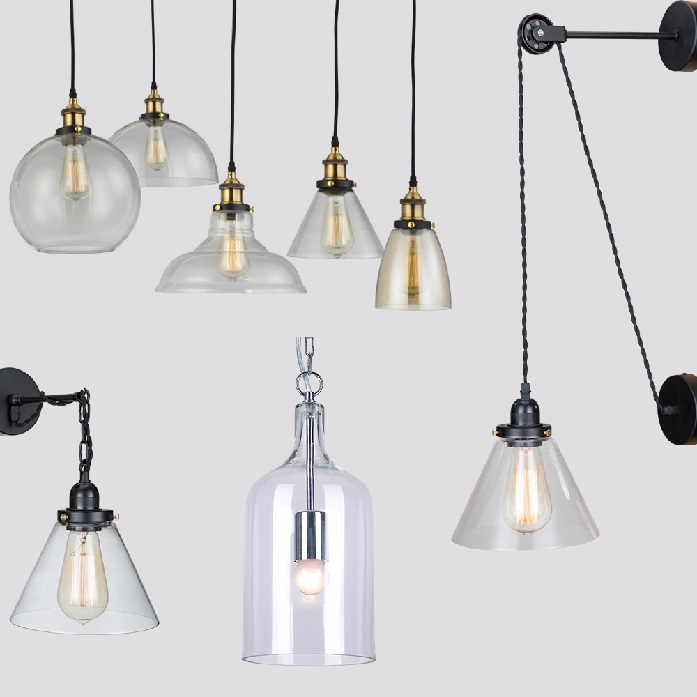 da2a785d2304 Retro Industrial Globe Loft Cafe Round Glass Ceiling Pendant Light Lamp  Shade