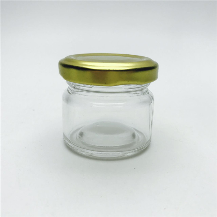 30ml 25g 1oz clear mini airtight jam honey food container glass jar with gold metal lid
