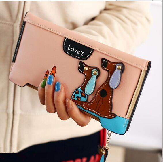 Alibaba supplier wholesale new Korean long wallet women two fold cartoon cute puppy lady wallets