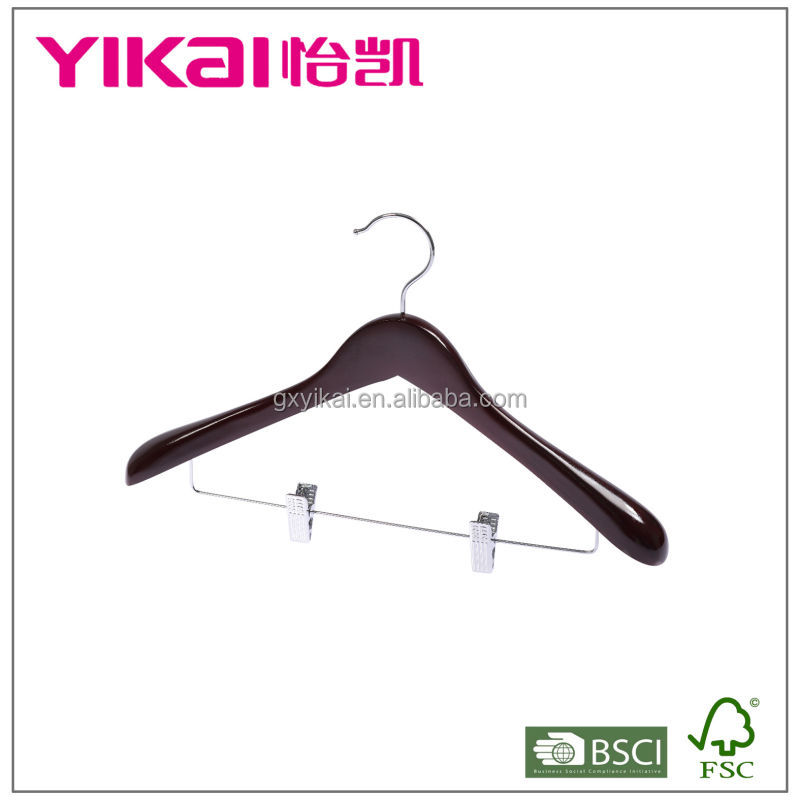 Mahogany color suit wooden hanger with with metal clips