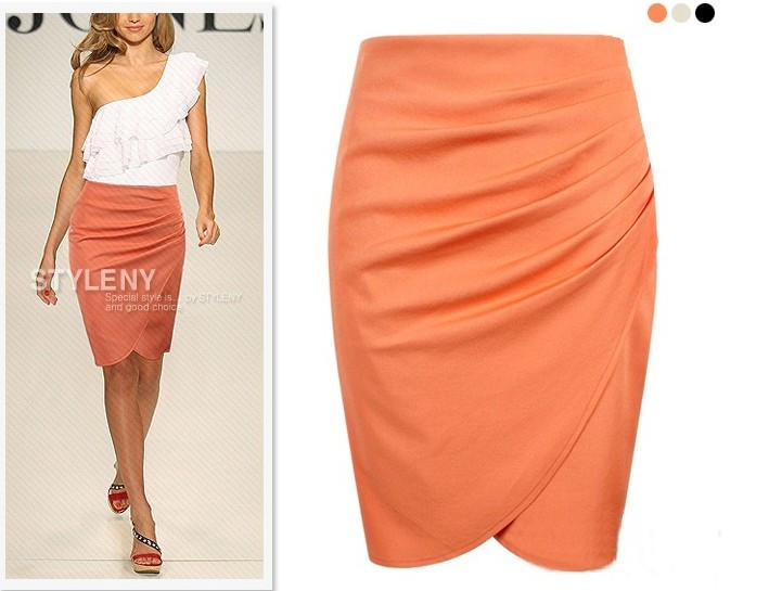 c6c4543b15bfb 2019 Wholesale Office Woman Skirt Summer Knee Length Pencil Skirts 2015 Plus  Size Casual Formal Step OL Suit Business Skirts From Goodly3128
