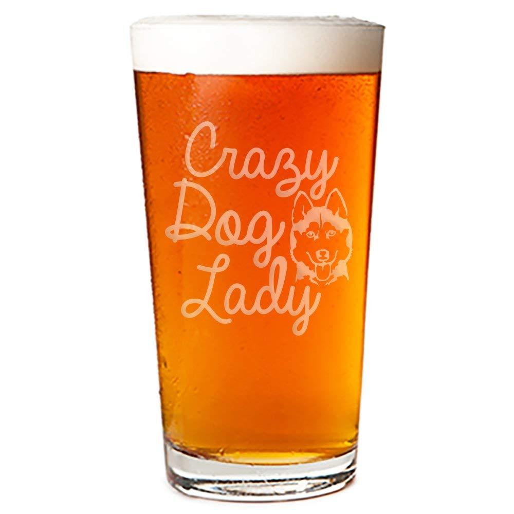 Crazy Dog Lady Siberian Husky Engraved 16-ounce Pint Glass