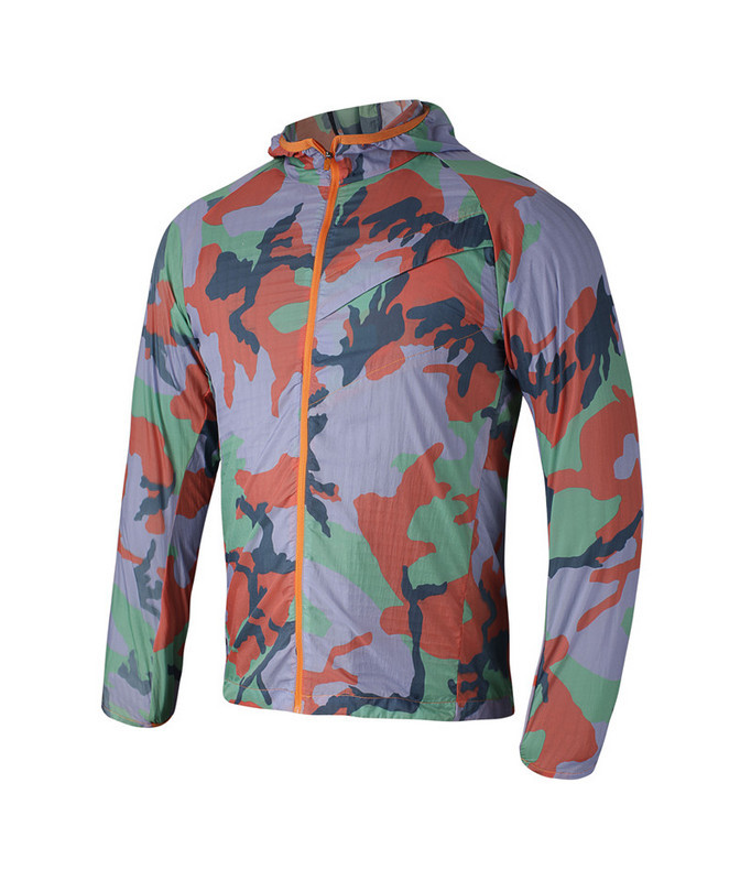 2015 Fashion Sport Track Jackets Outdoor Running Camouflage Coat Mens Zip Hoods Summer Jacket Slim Thin Nylon Clothing