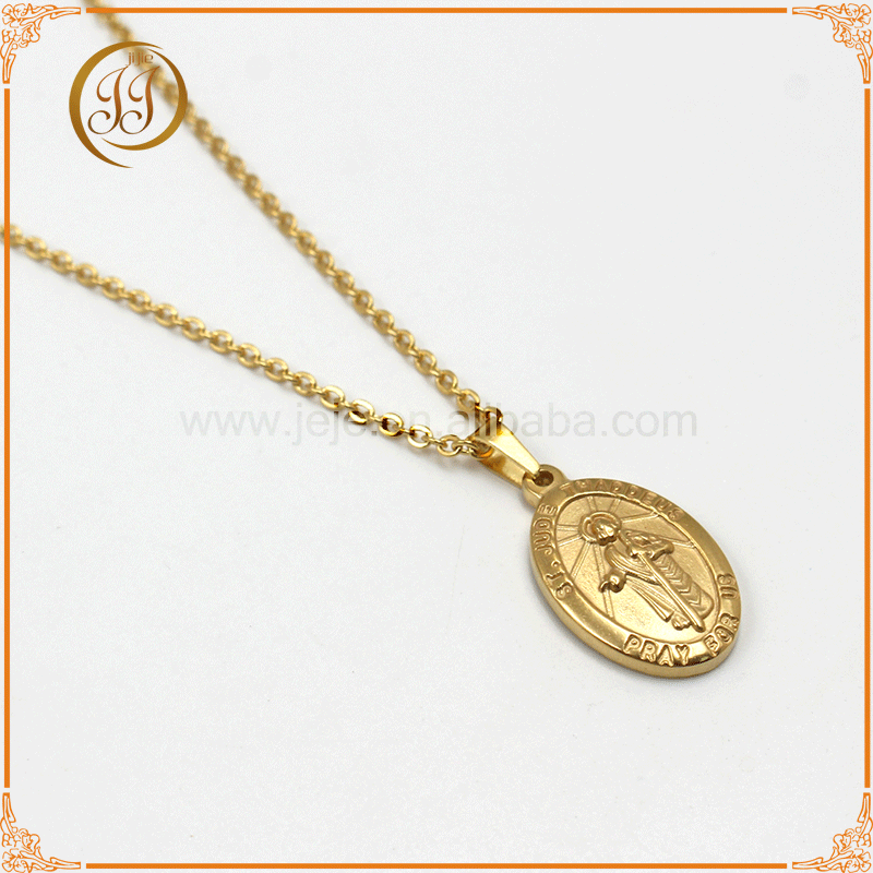Wholesale discount high quality 24k gold stainless steel Jesus Religious beliefs necklace