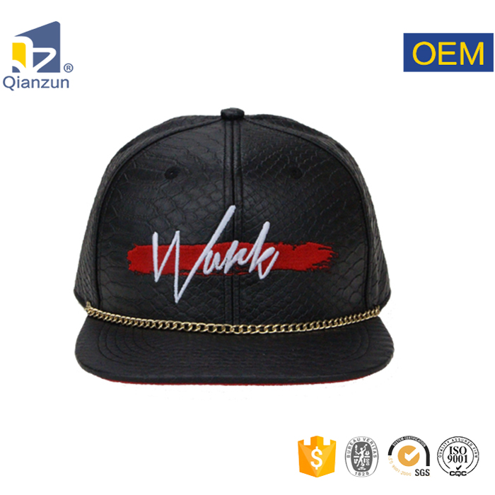 Black Leather Snapback Caps Custom Snakeskin Snapback