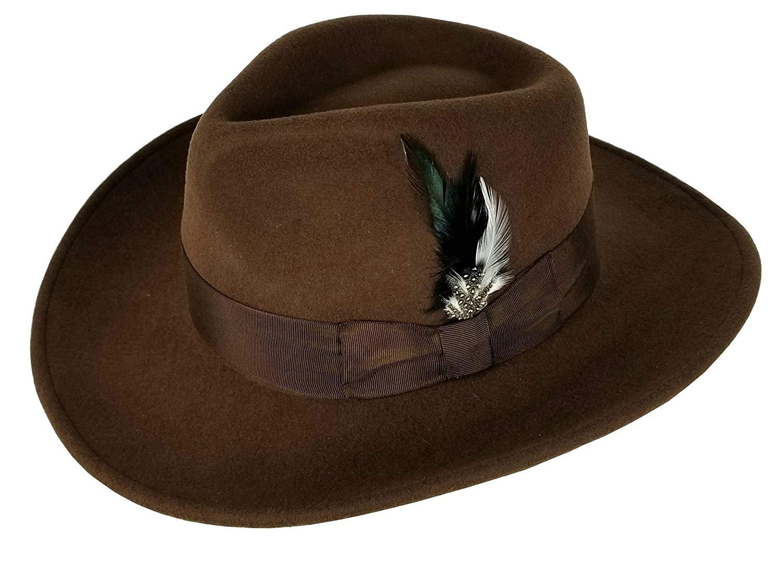 38a9ff19a48d Get Quotations · Men's 100% Soft & Crushable Wool Felt Indiana Jones Style  Cowboy Fedora Hats HE01