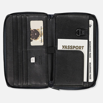 Wholesale PU pass holder leather zip around travel wallet travel passport holder