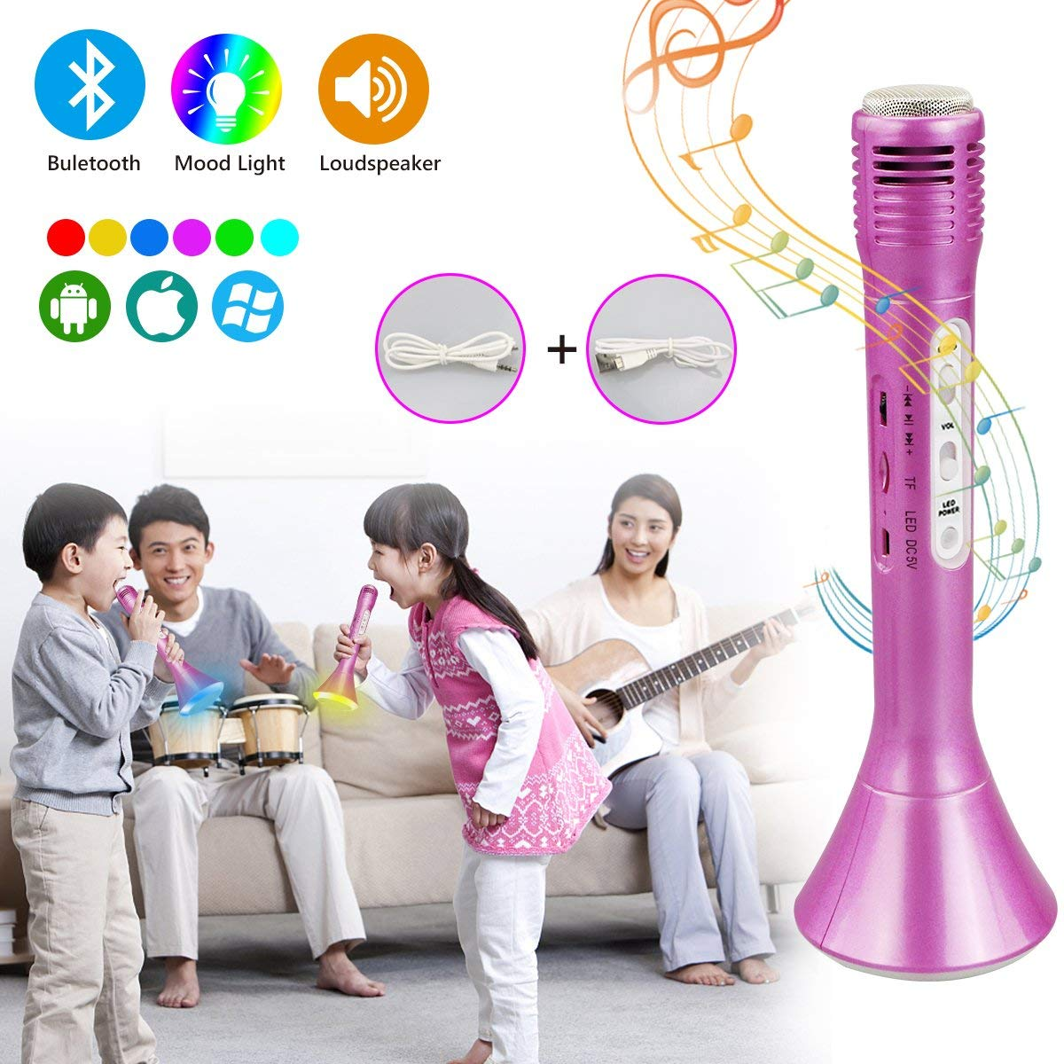 Fixget Wireless Karaoke Microphone, Bluetooth Portable Microphone for kids Karaoke Mic for Home Party Music with Speaker Music Singing Equipment for iPhone/Android/IOS/Smart phone(Pink)