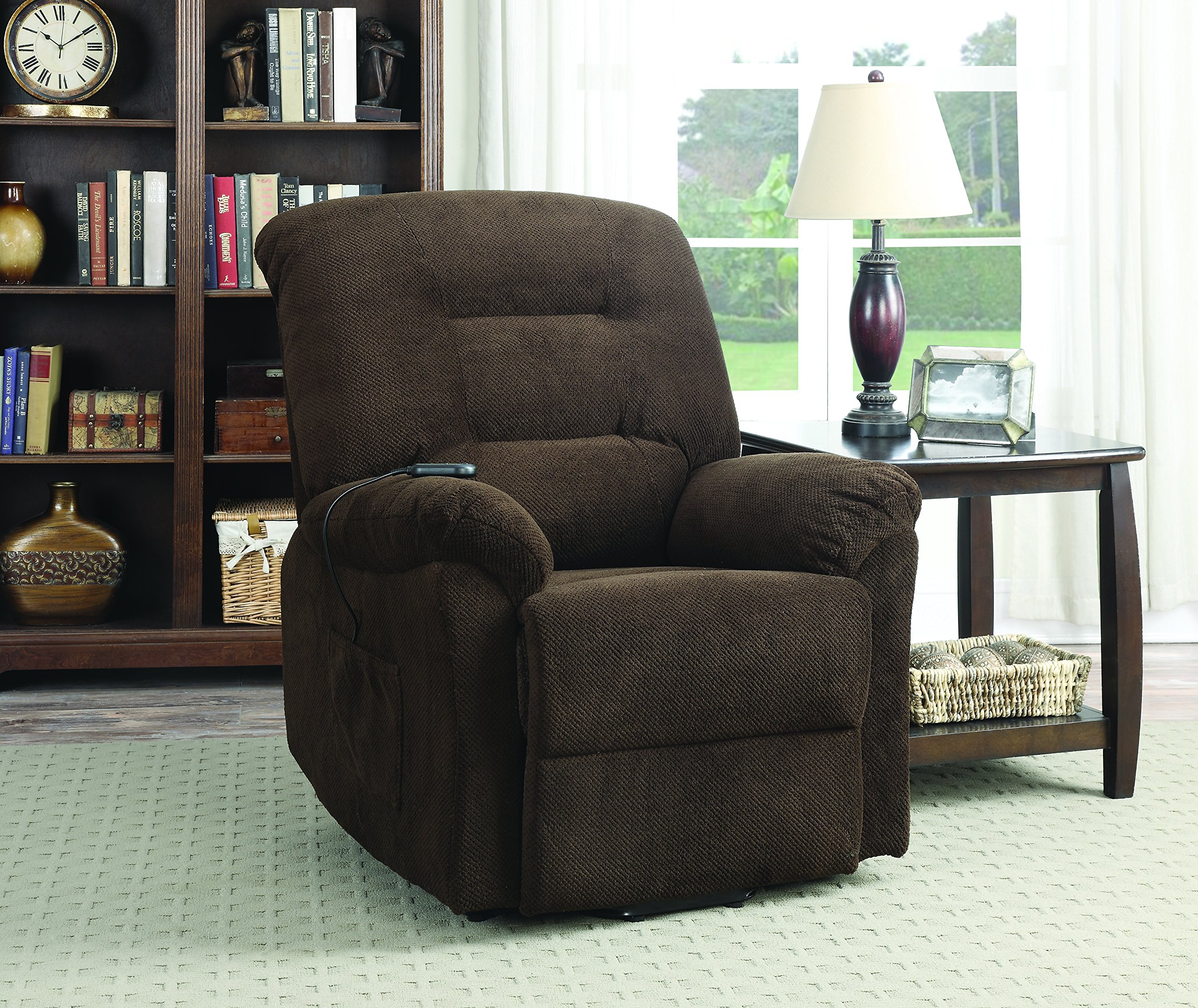 Coaster Casual Chenille Fabric Upholstered Power Lift Recliner, Chocolate