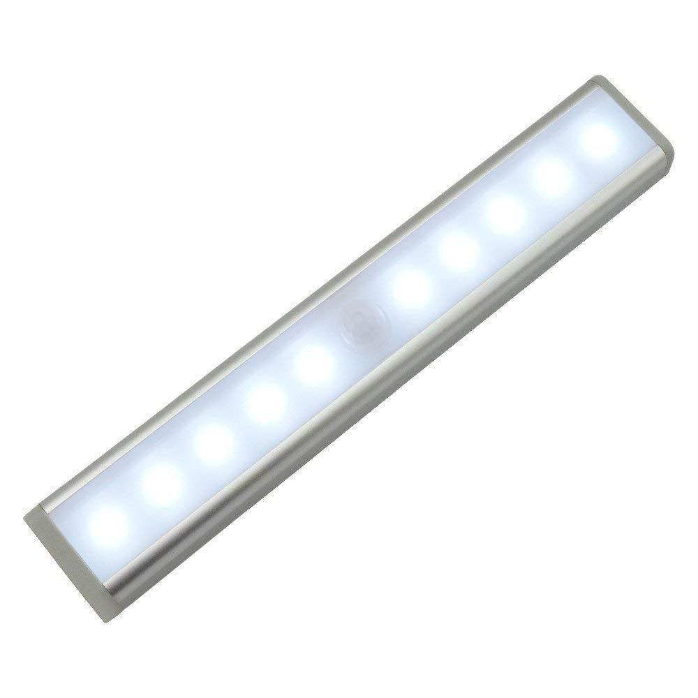 Aquiver Motion Sensor Closet Light,10 LED Cabinet Light Wireless PIR Motion Sensor Light Bar LED Night Light,Battery Powered With Stick-on Magnetic Strip Sliver-Cool White