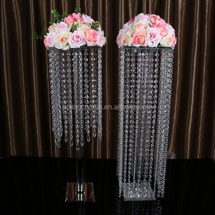 Tall round crystal wedding table decorations/wedding flower stand with hanging crystals