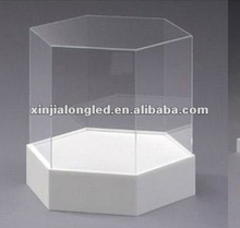 Hexagon Clear Acrylic Storage Boxes and Bins Cube Acrylic Exhibition and Fair Display Racks