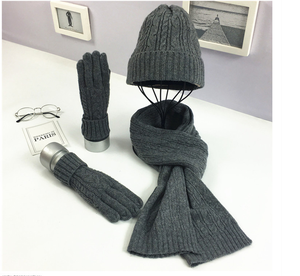 New Arrival Fashion pink winter hat and scarf set Warm hat gloves and set scarf set