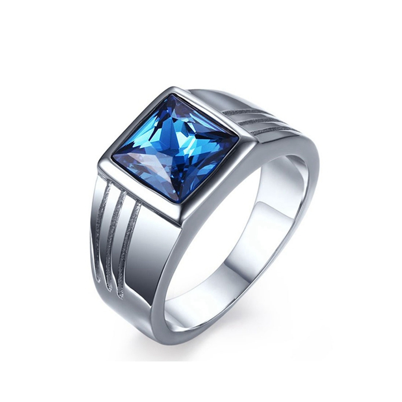 Jingli Jewelry best seller bing blue sapphire men rings stainless steel single stone mens ring with blue stone(HZ-063)
