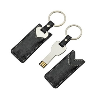 Promotional Gift OEM Leather USB Keychain, USB Flash Drive 64GB