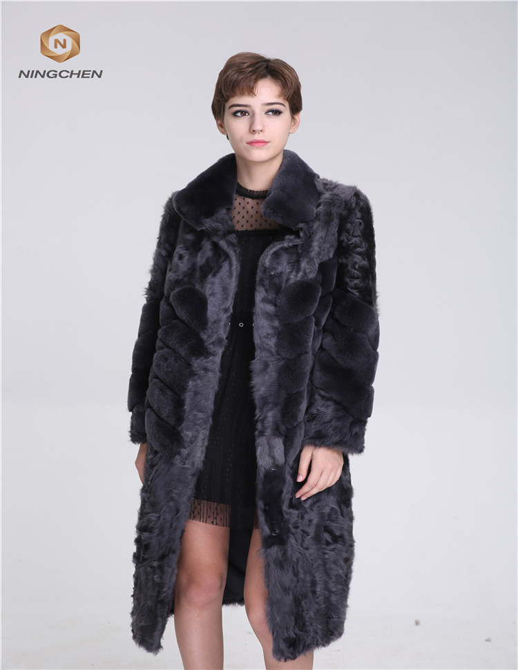 Long Style Blackt Color Rex <strong>Rabbit</strong> And Lamb Fur Coat for Fashion Ladies from China