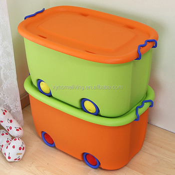 Colorful Plastic Toy Storage Box With Wheels