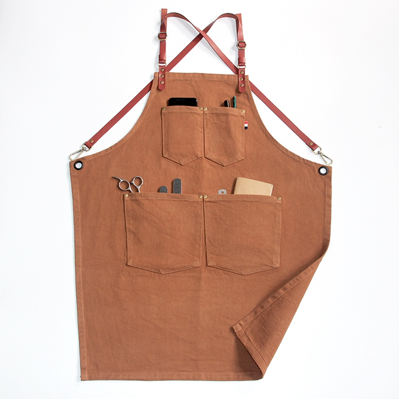 Hot Sales Household Comfortable Cotton Fabric Kitchen Apron With Belt And Tool Pockets фото