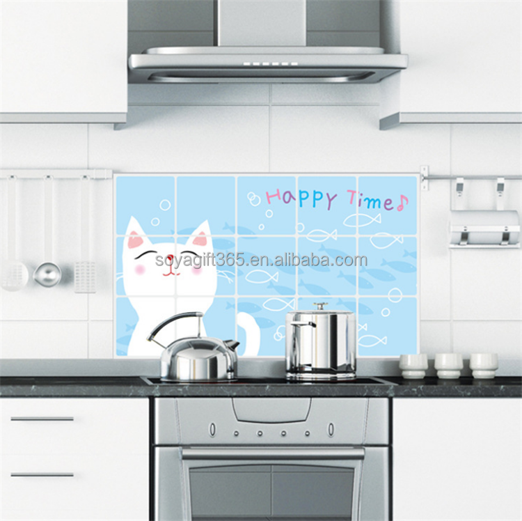 Cute Cat Kitchen Wall Stickers Oil Proof Decal Splashing Back Decoration