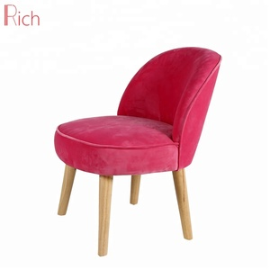 Commode Restaurant Used Solid Wood Pink Velvet Cover Modern Dining Chair Without Armrest