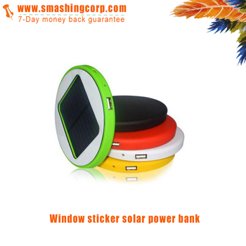 Promotional custom round window sticker solar power bank with 2500mah capacity including usb cable