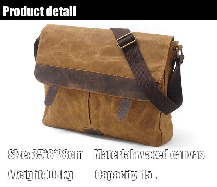 Popular Water Proof Vintage Waxed Canvas Leather Unisex Trim DSLR SLR Camera Shoulder Messenger Cross Body Bag